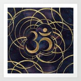 Geometric Om Symbol Gold and Labradorite Art Print