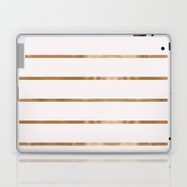 Elegant blush chic faux gold geometrical stripes Laptop & iPad Skin