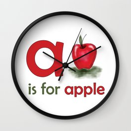 a is for apple, children alphabet for kids room and nursery Wall Clock
