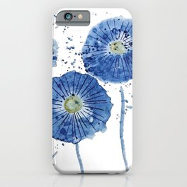 four blue dandelions watercolor iPhone Case
