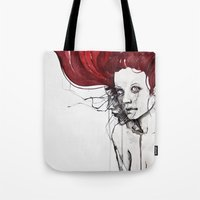 in the flesh Tote Bags featuring in the flesh by agnes-cecile