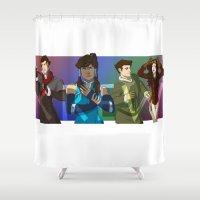 the legend of korra Shower Curtains featuring The Krew - Legend of Korra by BBANDITT