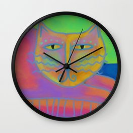 Colorful Abstract Cat Digital Painting  Wall Clock