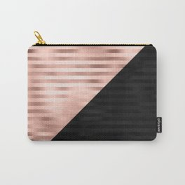 Modern Chic Pink Rose Gold Black Triangle Cut Carry-All Pouch
