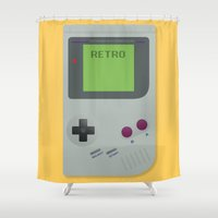 gameboy Shower Curtains featuring Retro Gameboy by Alex Boatman