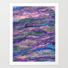 MARBLE IDEA! LAVENDER PINK PEACH Abstract Watercolor Painting Colorful Geological Nature Marbled Art Art Print