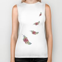 feather Biker Tanks featuring Feather by Juste Pixx Designs