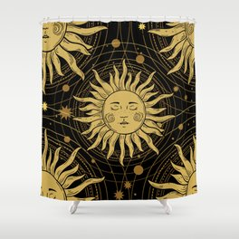 Seamless pattern with the golden sun galaxy and stars Shower Curtain