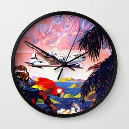 Fly to the Caribbean - Aruba Wall Clock