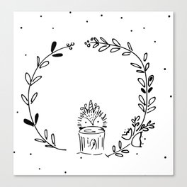 Magical Hedgehog Wreath Canvas Print