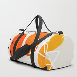 Fun Mid Century Modern Abstract Minimalist Yellow To orange Ombre Stacked Pebbles Duffle Bag