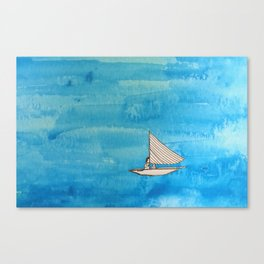 Liz on a Boat Canvas Print