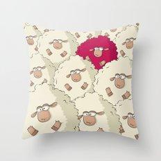 Sheep Pattern | Pink Throw Pillow