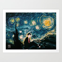 Taehyung Starry Night Art Print