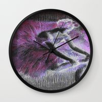 degas Wall Clocks featuring ballerina pink & black by PureVintageLove