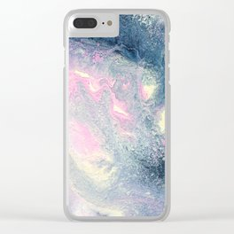 Dark gray & pink abstract II Clear iPhone Case