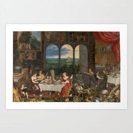 BRUEGHEL EL VIEJO, JAN Bruselas, 1568 - Amberes, 1625 Landscape with Wagons 1603. Art Print