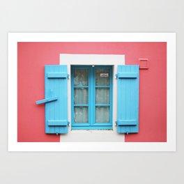 28. The Blue shutters, Bretagne, France Art Print