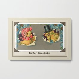 Vintage Easter chicks with bonnet and top hat Metal Print