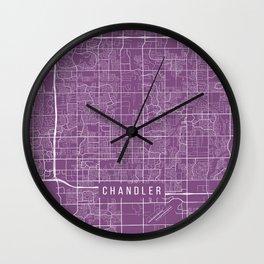 Chandler Map, USA - Purple Wall Clock