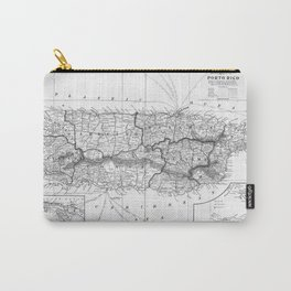 Vintage Map of Puerto Rico (1901) BW Carry-All Pouch