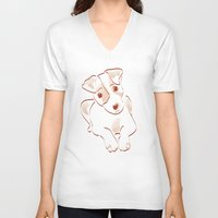 jack russell V-neck T-shirts featuring Jack russell by 1 monde à part