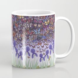 butterflies aflutter above irises and frogs Coffee Mug