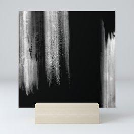 Black And White Bokeh Stripes Brush Strokes - Gothic Glam - Abstract - Corbin Henry Mini Art Print