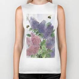 Lilacs and Bees Watercolor Painting Biker Tank