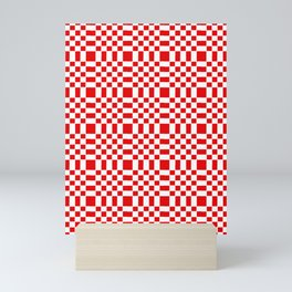 Square and tartan 1- red Mini Art Print
