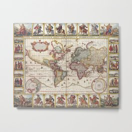 1652 Map of the World, Doncker Sea Atlas World Map Metal Print