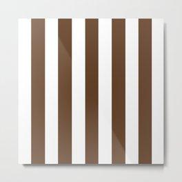 Van Dyke brown - solid color - white vertical lines pattern Metal Print