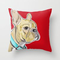 frenchie Throw Pillows featuring FRENCHIE by Analy Diego