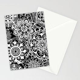 Black and White Mandala Pattern Stationery Cards