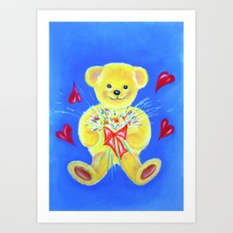 Bear with flowers Art Print