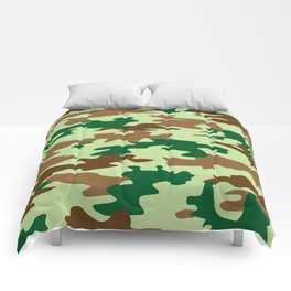 Camouflage Print Pattern - Greens & Browns Comforters