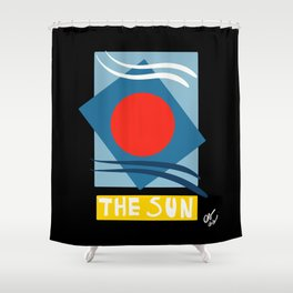 The Sun Tarot Card Abstract Futurist Art  Shower Curtain