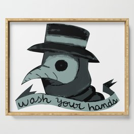 Plague doctor Plague doctor art mask drawing aesthetic  Serving Tray