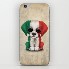 Cute Puppy Dog with flag of Mexico iPhone Skin