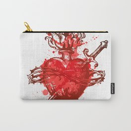heart in flames wounded by dagger Carry-All Pouch