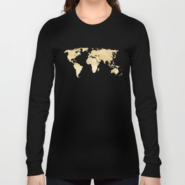 Gold World Map Long Sleeve T-shirt