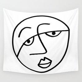 Sad Man's Face Wall Tapestry
