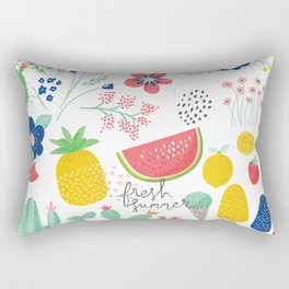 Fresh Summer Fun Desert Bloom & Fruits Pattern Rectangular Pillow