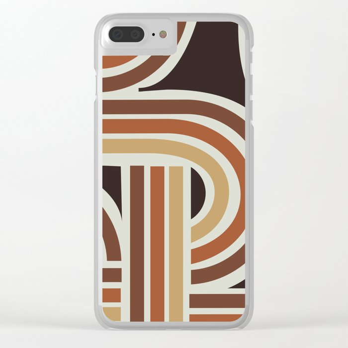 70's Brown Funky Clear iPhone Case