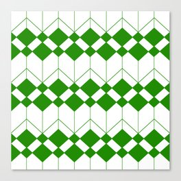 Abstract geometric pattern - green and white. Canvas Print