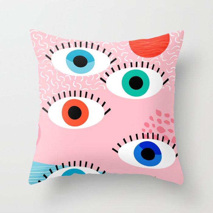 Noob - eyes memphis retro throwback 1980s 80s style neon art print pop art retro vintage minimal Throw Pillow