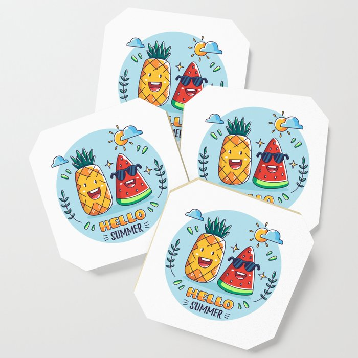 Pineapple And Watermelon Hello Summer Coaster By Saigon199x Society6