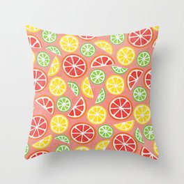 Vitamin C Super Boost - Citric Fruits on Peach Throw Pillow