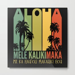 Mele Kalikimaka Aloha Hawaii Christmas Metal Print