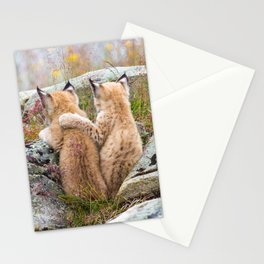 Lynx kittens - sister love Stationery Cards